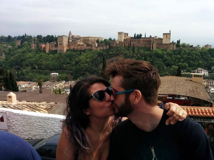 In Granada, Spain with the Alhambra behind us