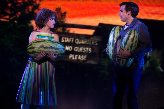 The watermelon line was always my favorite! Photo: Jillian Mueller (Baby) and Doug Carpenter (Billy) in Dirty Dancing. Photo by Matthew Murphy.